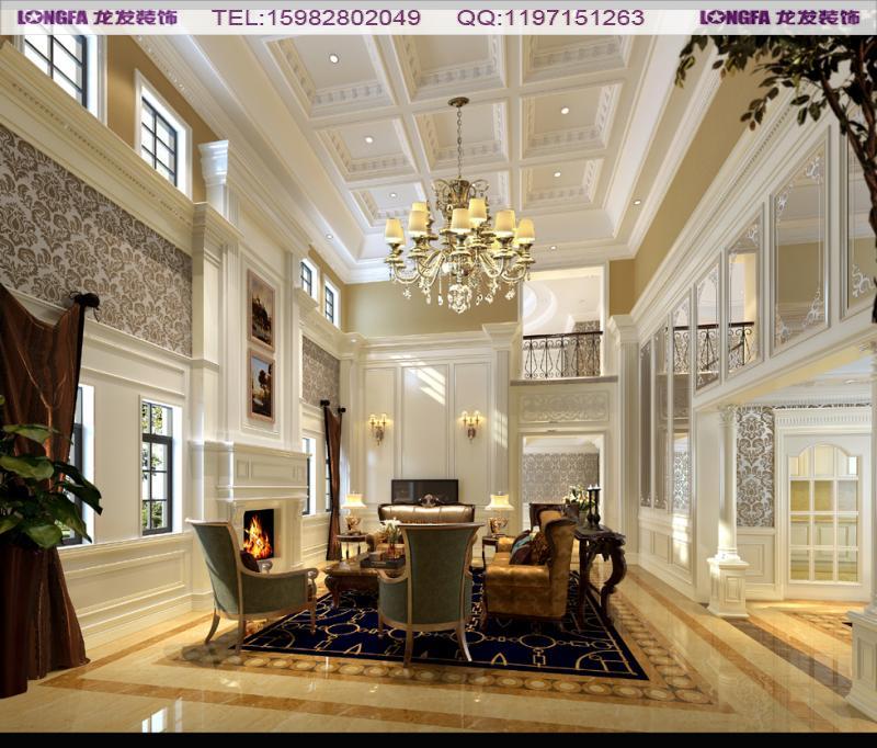 整个风格为欧式,保利拉斐的别墅建筑结构本身都是挑高设计,龙发装饰的
