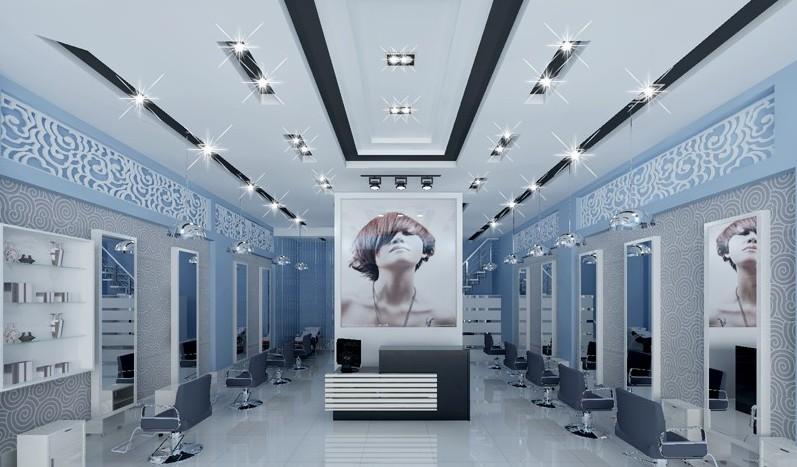 现代美发店实景图装修图满多