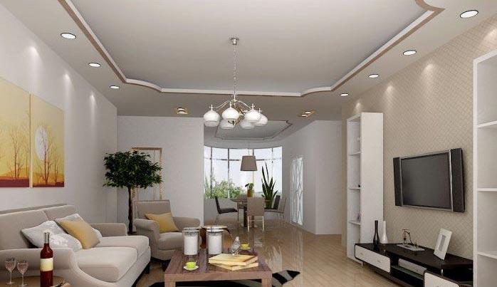 现代家庭客厅吊顶装修效果图