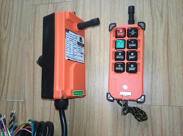 遥控器 CD葫芦遥控器 遥控开关等。可用来替代原来拉线手柄或驾驶室操纵台,实现起重机的无线操作,提高操作的安全性、可靠性、便捷性、工作效率,改善工作条件,降低劳动强度。发射器(手持) 尺寸:16.47.54.6厘米 重量:约320克接收机 尺寸:18.58.58.5厘米 重量:550克 具有8只操作按键,其中7只单速按键,1只总停 带有电池电压警示装置,在电压不足时能自行切断电路;控制距离:可达100米; 安全码:43亿种以上出厂永不重复; 使用温度:-35至+80(不考虑电池耐温); 防护等级