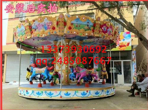 游乐场旋转木马 12座豪华转马 儿童大型游乐设备 升降木马设施