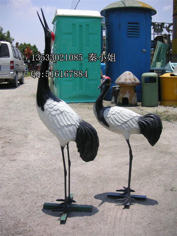 玻璃钢仙鹤雕塑 公园水景动物雕塑 景观小品雕塑