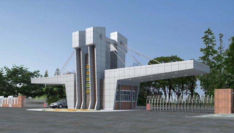 三维效果图石材学校欧式建筑大门设计