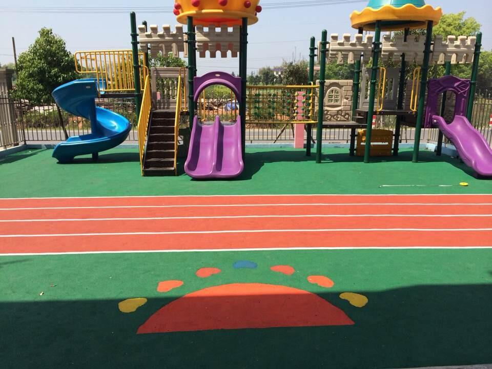 幼儿园室外运动场地铺设 彩色弹性地垫_塑料建材_云商