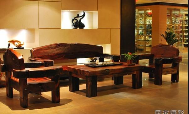求购船木独板靠背沙发套装