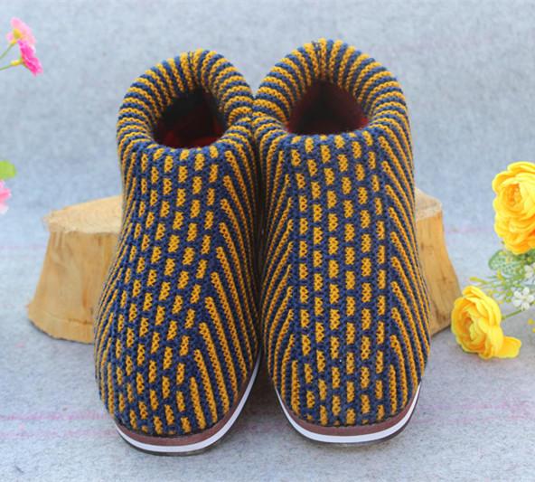 毛线棉鞋批发价格手工毛线棉鞋批发加厚保暖鞋