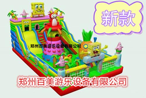 黔东南大型充气滑梯、百美充气游乐设备很好、儿童充气滑梯新款