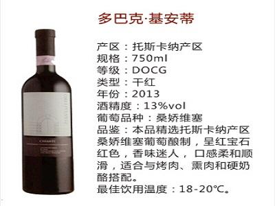 意闽进出口公司是优秀的多巴克基安蒂干红葡萄酒批发商意大利进口葡萄酒代理