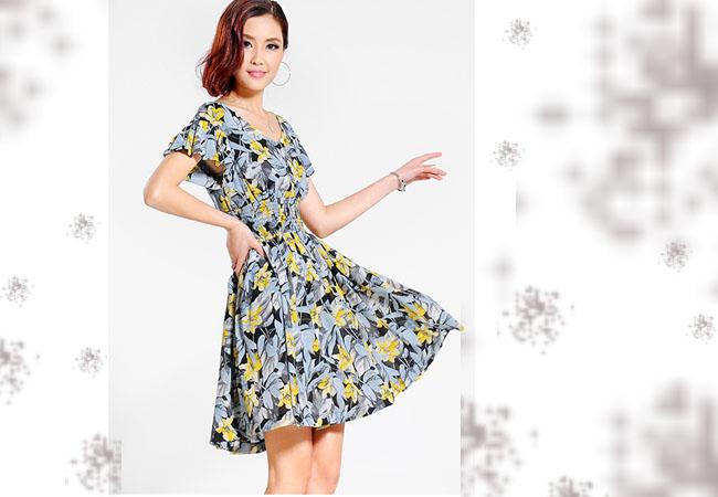 【玖姿伊】女装批发2015民族风波西米亚雪纺长裙