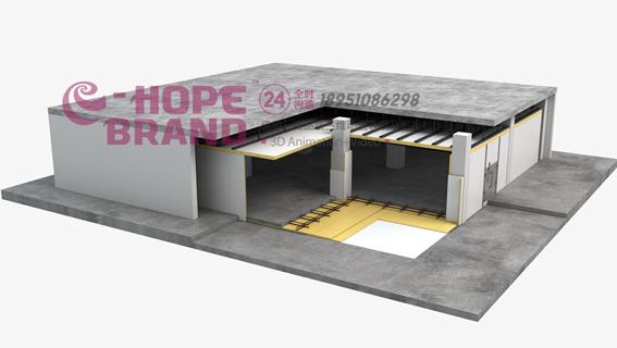 冷库保温材料xps板安装装配流程三维演示动画