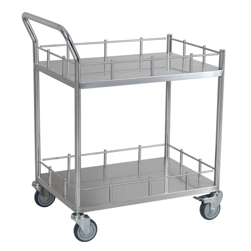 兆庭不锈钢带护栏手推车平板车实验室餐车医用家用小推车RCS-L021