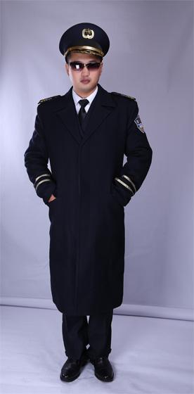 冬季加厚中长款保安大衣 物业保安服