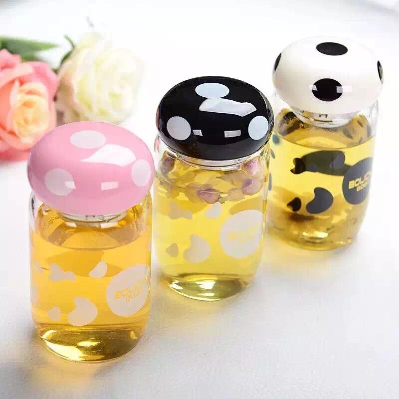 蘑菇玻璃杯女士可爱小巧韩版时尚型学生创意水杯子便携小清新水瓶