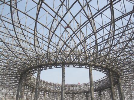 收费站顶棚网架,    空心球空间网架,    球形节点结构网