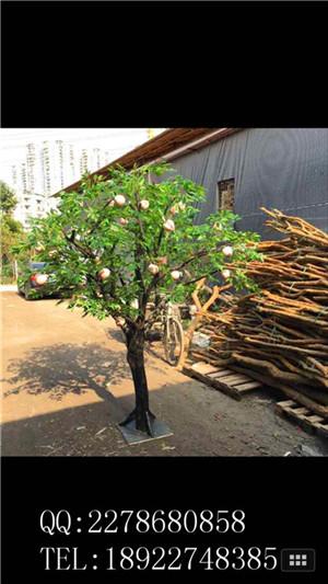 圣缘景观仿真桃子树制作、尺寸造型可定做 人造桃子树生产厂家