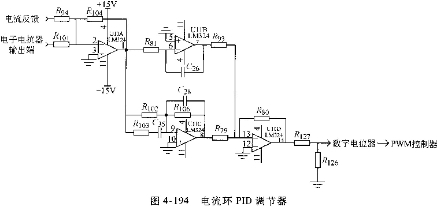 输入信号来自电子电抗器的输出和电流反馈的值,pid调节器的输出经过