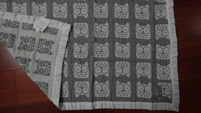 提花猫头鹰三层纱布抱毯