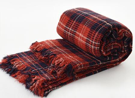 全棉色织水洗华夫格毯子