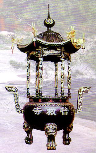 六龙柱香炉1-铜香炉-达华法器