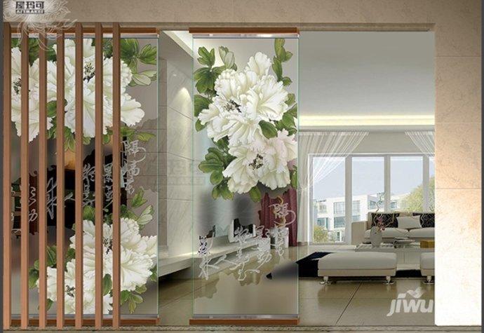 中式艺术玻璃客厅屏风手工雕刻玄关磨砂工艺装饰画 隔墙花影ym-27