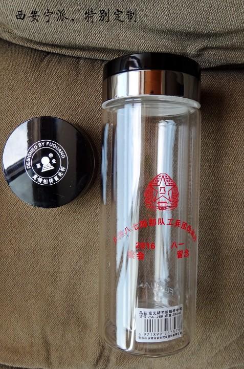 西安国庆节杯子印字、礼品杯促销价批发双层水晶玻璃杯