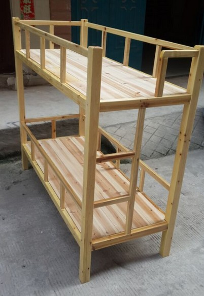定制环保全松木双层床 上下铺床实木高低床 员工宿舍床 公寓床