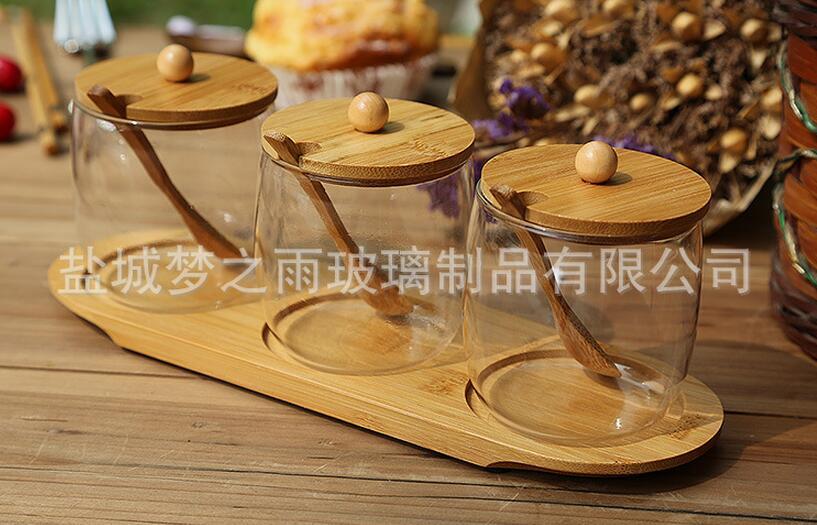 �糁�雨 �{味瓶 玻璃�{味罐�M合 竹木元素�{料罐 �S家直�N