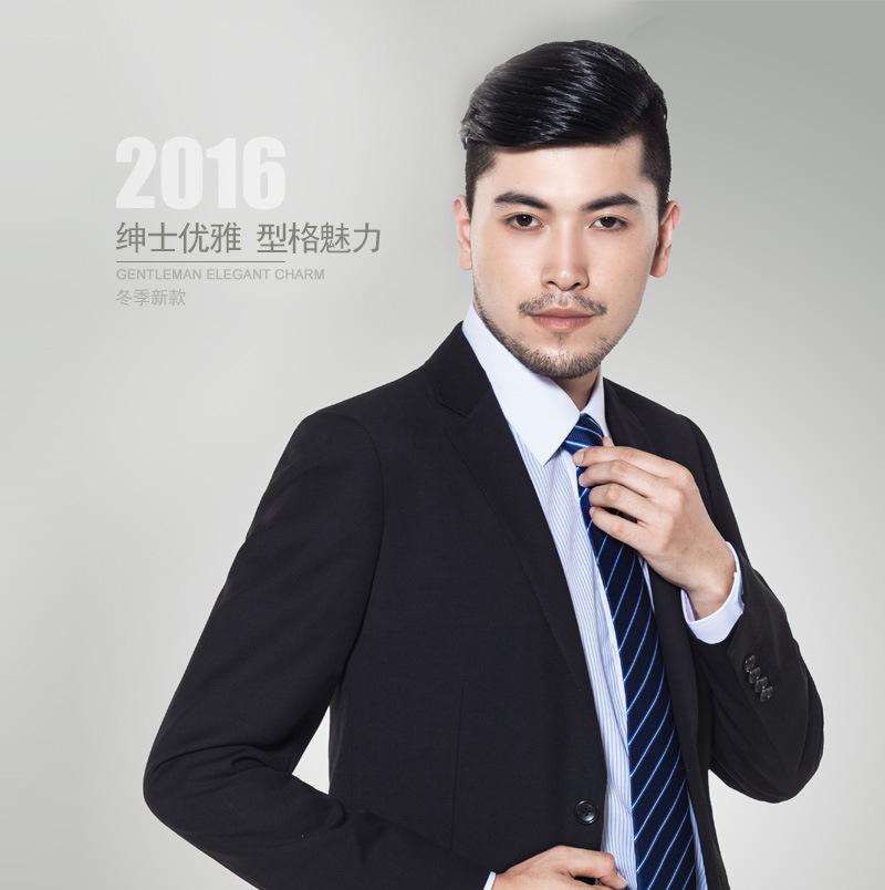湖南长沙高档黑色仿毛哔叽男士西服套装定做秋冬款 高温定型
