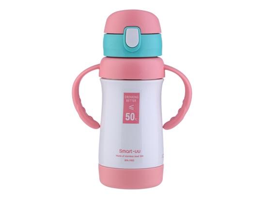 smart-uu思米优品牌儿童保温杯粉色240ml弹盖带手柄