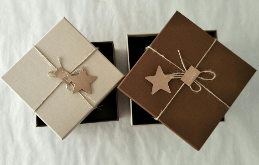 爱赏宝 厂家直销简约麻绳正方形礼品盒个性精美礼物盒情人节包装盒