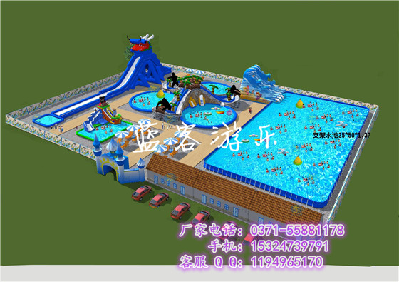 支架游泳水池充气大滑梯组合移动水上乐园全套设备