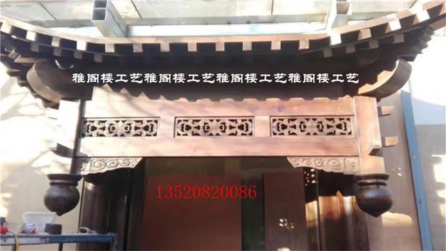 雅阁楼木雕门楼中式门头屋檐牌坊 室内外装修假撑拱飞檐垂花门图片