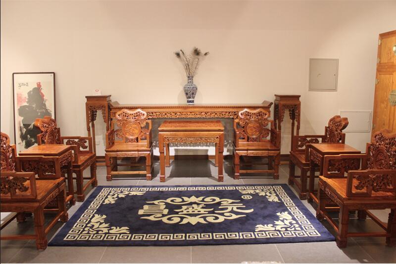 沧州那边有供品量好的缅甸花梨木大赢家棋牌中堂十两件套 华贵的中堂