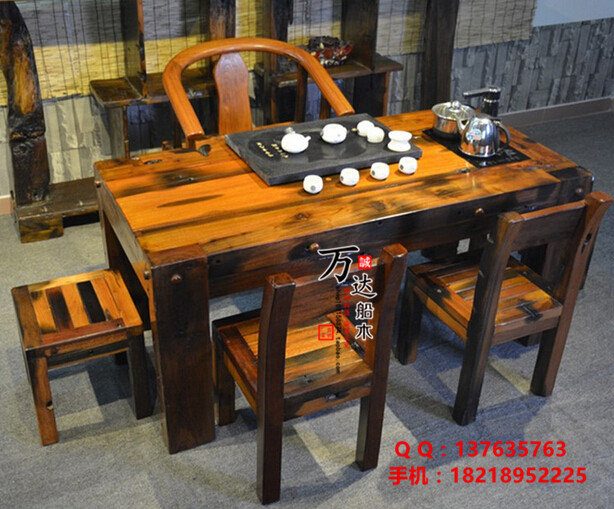 老船木老板桌办公桌抽屉大班桌写字台电脑桌简约书桌椅