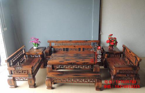 万达老船木沙发优乐娱乐平台 船木万字沙发组合