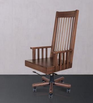 黑胡桃实木转椅