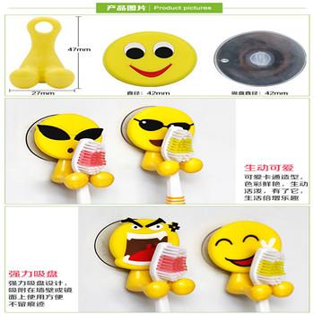PVC卡通笑脸小人冰箱贴挂钩 吸盘挂钩 PVC3D卡通吸盘挂钩