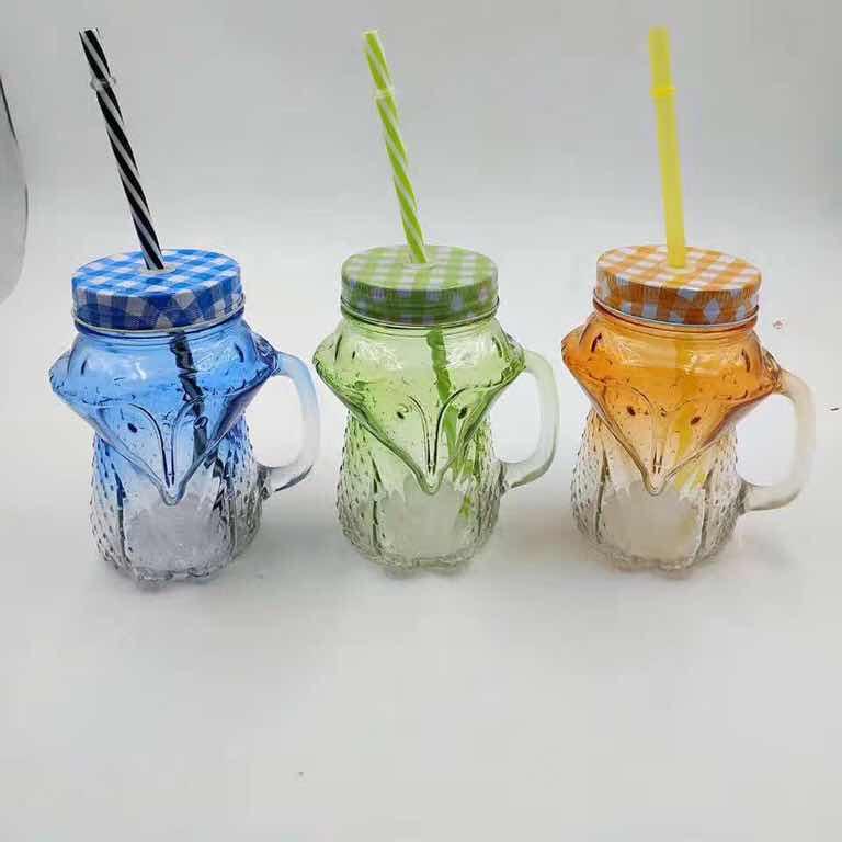 玻璃把手杯 狐狸把手杯 熊猫杯 菠萝杯 仙人掌杯 光板烤花把手杯1841