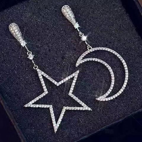 亚西亚银饰批发-星月耳吊明星同款、925银饰批发、泰银批发