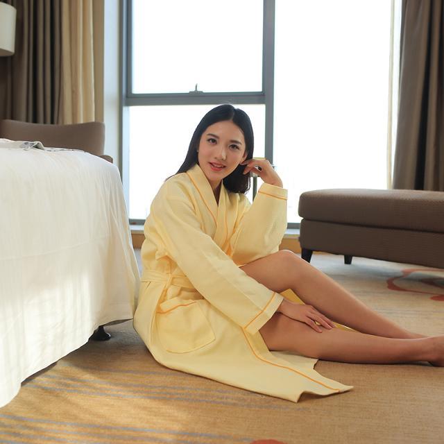 酒店客房桑拿华夫格浴袍定制厂家薄款柔软吸水18952300308