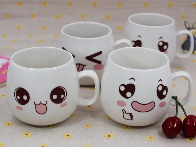 优质的创意可爱萌表情带盖勺杯子在哪买企业LOGO定制