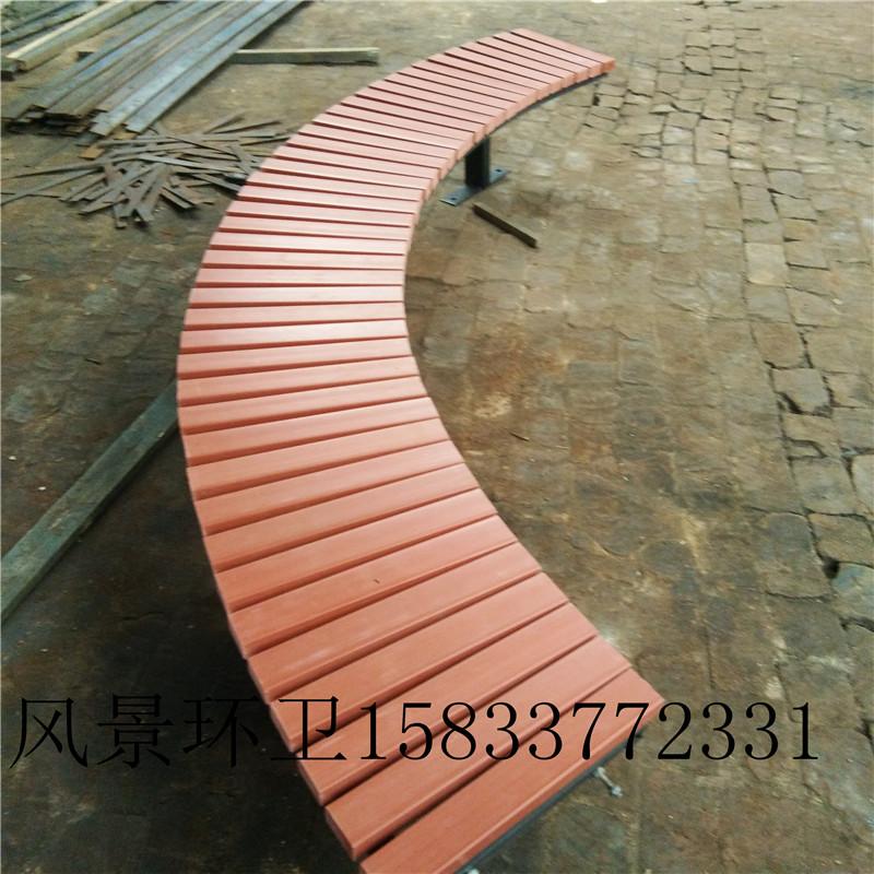 户外铸铁公园长椅天津塑木椅子厂家广场休闲防腐木椅