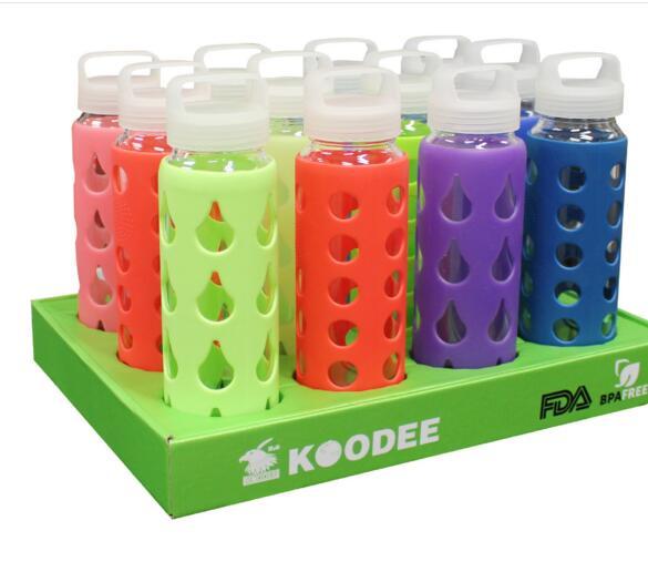 厂家直销创意玻璃杯 硅胶套玻璃水瓶批发 沃尔玛选择的厂家 酷迪