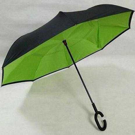 现货反向伞双层免持式C型雨伞 男女雨伞汽车可站立长柄伞厂家直销