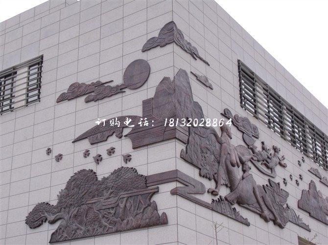 锻铜人物浮雕墙画铜浮雕