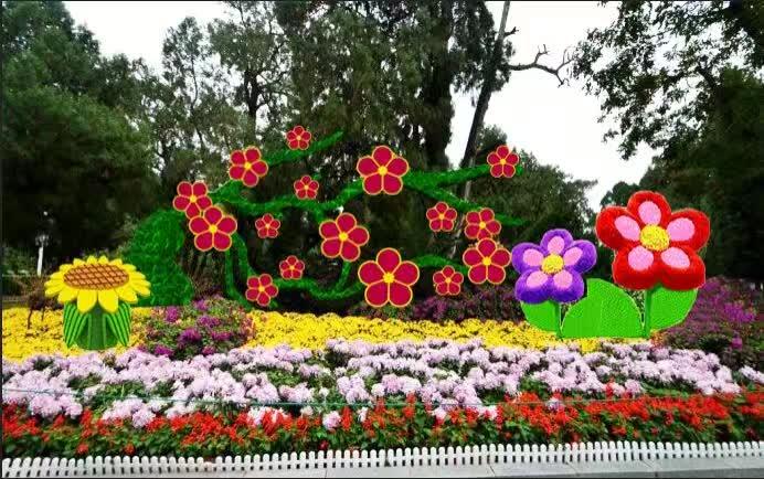 山东曲阜五色草立体花坛绿雕造型施工厂家
