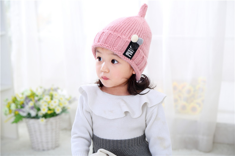 bbmy99毛线帽韩版秋冬季儿童针织帽米奇标小孩尖尖套头