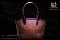 宋锦面料厂家女士手提包福叠万字纹紫色
