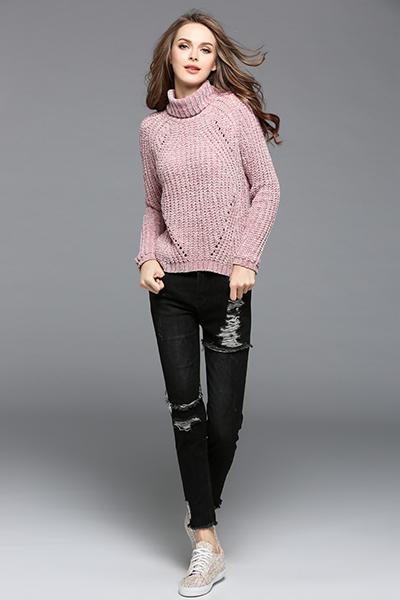 伊梵黎2017秋冬女装新款纯色高领套头长袖针织百搭打底衫