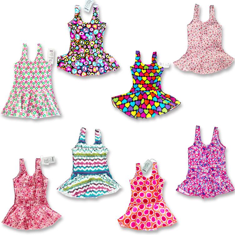 新款可爱儿童防晒彩色舒适图案连体裙小孩童衣款泳装批发